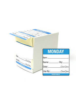 DY057 - 50mm Monday Food Preparation Rotation Label. 500 Per Roll (Boxed)