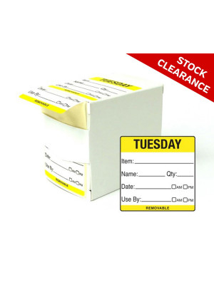 50mm Tuesday Food Preparation Rotation Label. 500 per roll Boxed - DY058