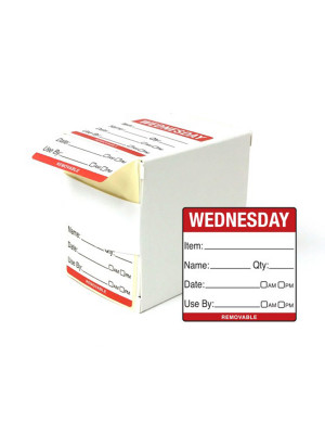 DY059 - 50mm Wednesday Food Preparation Rotation Label. 500 Per Roll (Boxed)
