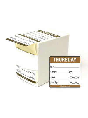 DY060 - 50mm Thursday Food Preparation Rotation Label. 500 Per Roll (Boxed)