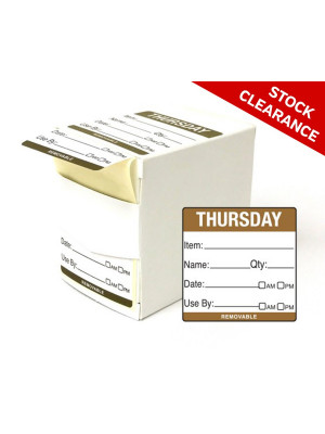 50mm Thursday Food Preparation Rotation Label. 500 per roll Boxed - DY060