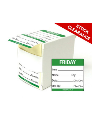 50mm Friday Food Preparation Rotation Label. 500 per roll Boxed - DY061