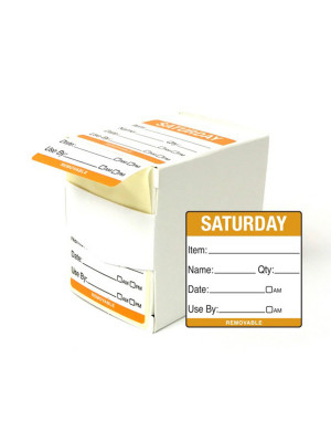 DY062 - 50mm Saturday Food Preparation Rotation Label. 500 Per Roll (Boxed)