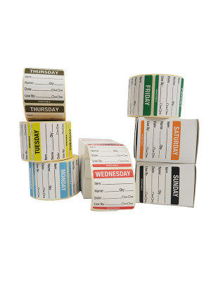DY071 - Full Set of 50x50mm Day of The Week Food Rotation Labels