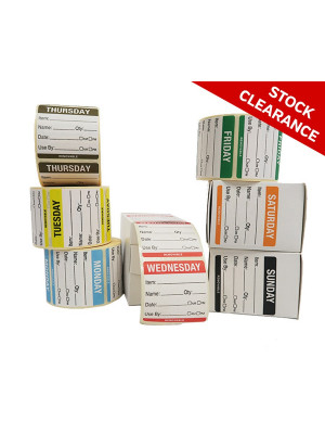 Full Set of 50x50mm Day of the week Food Rotation Labels - DY071