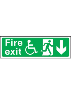 Disabled Fire Exit Arrow Down 150x450mm