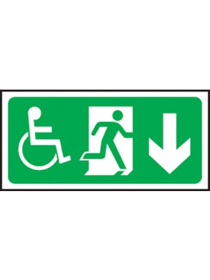 Disabled Exit Arrow Down 150x300mm