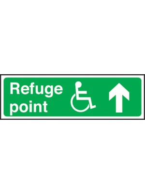 Disabled Refuge Point Arrow Up 150x450mm