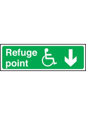Disabled Refuge Point Arrow Down 150x450mm