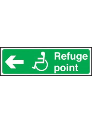 Disabled Refuge Point Arrow Left 150x450mm