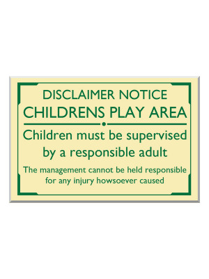 Exterior Wall Mounted Children's Play Area Disclaimer Notice - Multiple Options