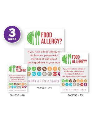 Customer Allergen Symbols & Ingredients Awareness Pub & Café Notice (2 x Display Options)