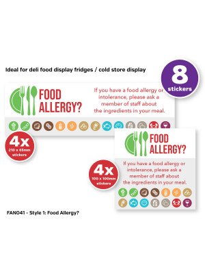 Allergy Awareness Sticker Pack contains 8 Self Adhesive Vinyl Stickers