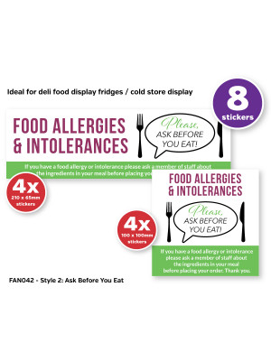 Ask before you Eat Awareness Sticker Pack contains 8 Self Adhesive Vinyl Stickers