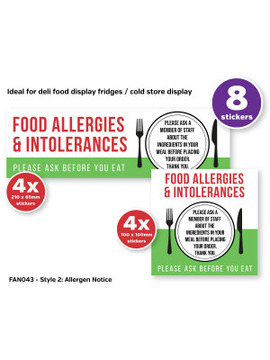 Food Allergy & Intolerances Allergy Awareness Sticker Pack contains 8 Self Adhesive Vinyl Stickers