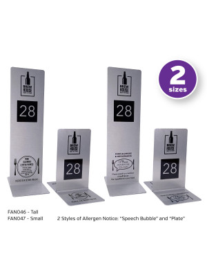 Branded Brushed Silver Allergy Awareness Table Numbers. Suitable for Pubs, Cafes and Restaurants