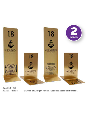 Branded Brushed Gold Allergy Awareness Table Numbers. Suitable for Pubs, Cafes and Restaurants