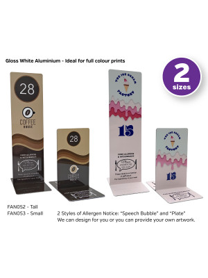 Branded Personalised Allergy Awareness Table Numbers. Suitable for Pubs, Cafes and Restaurants