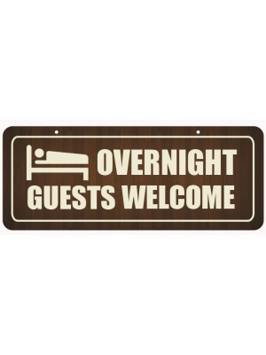 Overnight Guests Welcome Window Hanging Notice - GS004