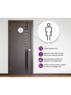 Ladies Toilet Door Symbol 150mm White