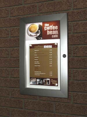 Illuminated Economy Lockable Menu Case with Printed Header - Multiple Sizes
