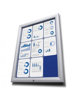 Wall Mounted Premium Lockable Notice Board with Blue Felt
