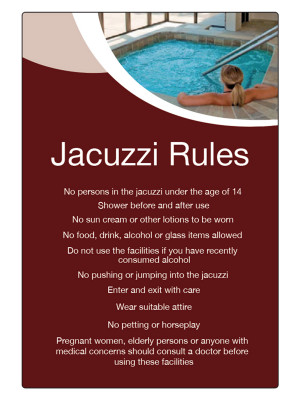 Jacuzzi Rules Guidelines Notice - LP009
