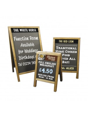 Wooden Frame Pavement HPL Chalkboards - Multiple Sizes