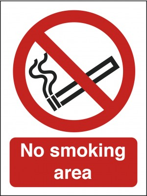 No Smoking Area Text and Symbol Sign