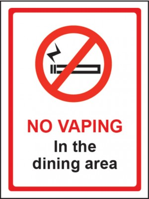 No Vaping in the Dining Area Sign