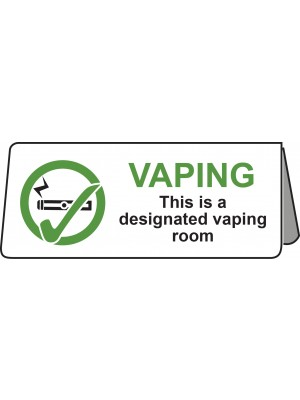 PS467 - This is a Designated Vaping Room Tent Table Notice