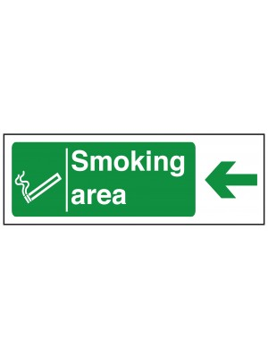 Smoking Area Arrow Left Sign