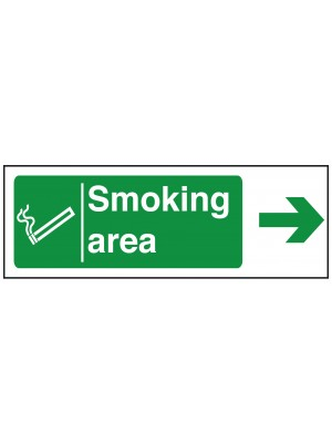 Smoking Area Arrow Right Sign