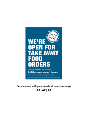 We are Open for Take Away food orders Personalised Anti-Tear Waterproof Poster - Blue