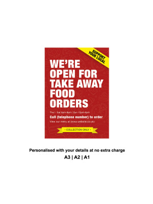 We are Open for Take Away food orders Personalised Anti-Tear Waterproof Poster - Red