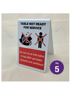 This table has NOT yet been sanitised / not ready for service tabletop hygiene tent notice. Pack of 5
