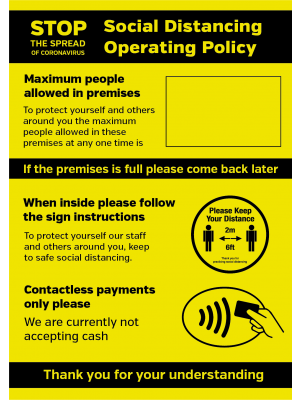 Social Distancing Operation Policy maxiumum people allowed / contactless payments only  notice