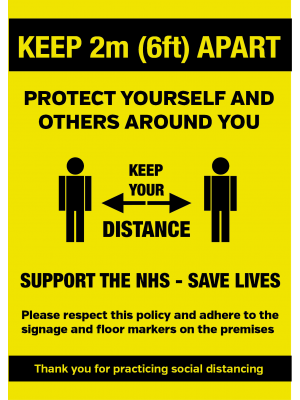 Keep 2metre (6ft) apart when entering social distance notice