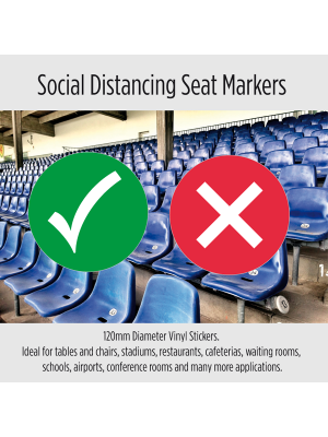 Social Distancing Removable seat markers. Packs of 10
