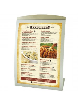 Silver Delta Curved Table-top Menu Displays - Multiple Sizes
