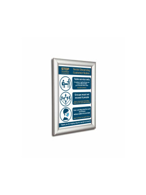Framed wall mounted Social Distancing customer notice with 3 essential guidelines