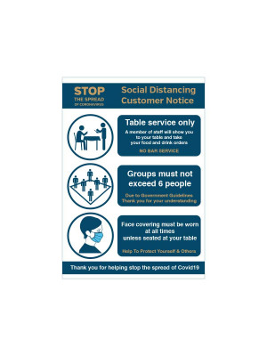 Hospitality Social Distancing customer notice with 3 essential guidelines