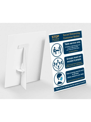 Social distancing customer notice countertop freestanding sign