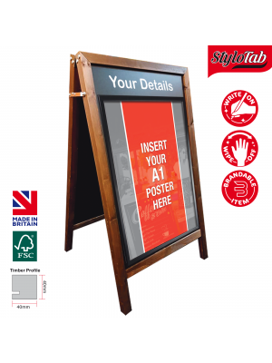 Wood Frame Blackboard A-Board with fitted poster holder to both sides - Exterior Use
