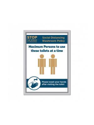 Maximum of 2 persons to use these toilets at a time Social Distancing Wall mounted Toilet Sign