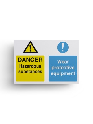 Danger Hazardous Substances / Wear Protective Equipment Notice