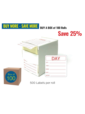 Removable Food Preparation Use by Labels. Box of 100 rolls