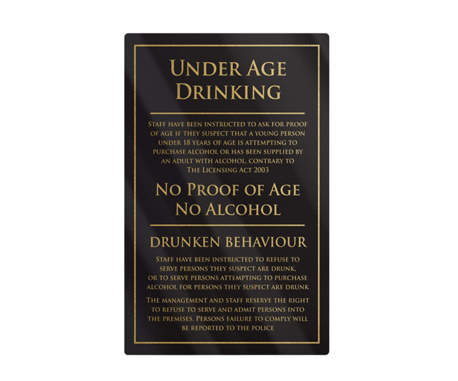 Under Age Drinking Notice Frame Options Traditional