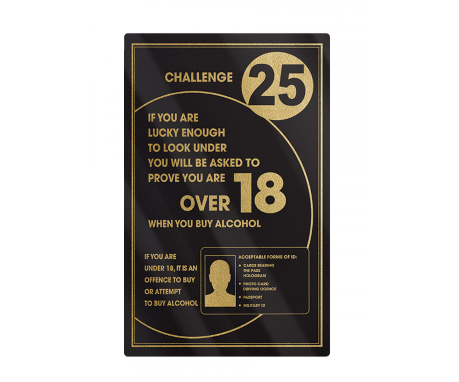 Challenge 25 Bar Notice Frame Options Traditional Bar