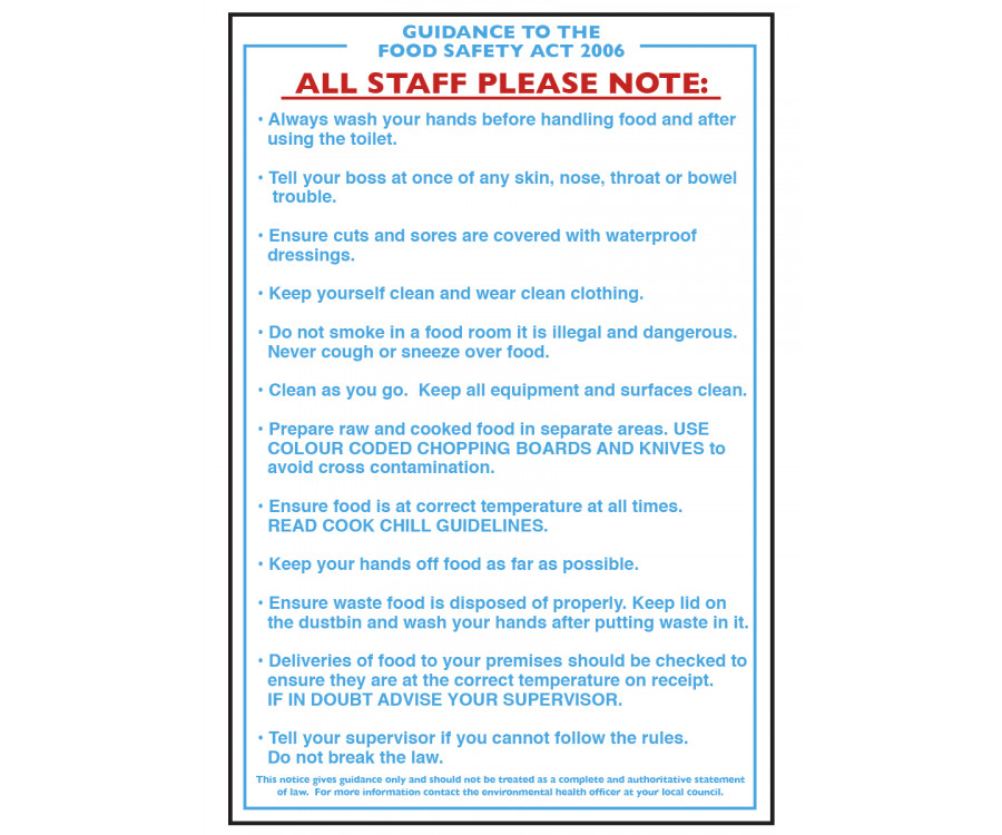 Food Safety Guidance Act Notice - CS002 - Staff Hygiene & Wash Hands